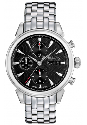 GEMINI COLLECTION AUTOMATIC BLACK DIAL CHRONOGRAPH DISPLAY AND SILVER STAINLESS STEEL , 42MM