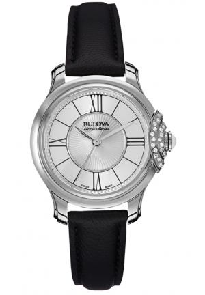 BELLECOMBE BLACK LEATHER STRAP WATCH , 31MM 63R142