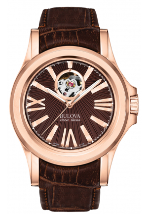 Bulova Accu·Swiss KIRKWOOD COLLECTION AUTOMATIC BROWN DIAL ANALOGUE DISPLAY AND BROWN LEATHER STRAP , 40MM 64A104