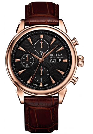GEMINI COLLECTION AUTOMATIC CHRONOGRAPH BROWN LEATHER STRAP , 42MM