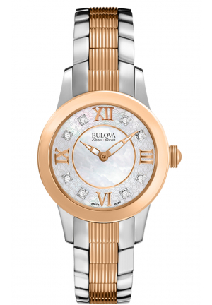 Bulova Accu·Swiss MASELLA COLLECTION ROSE GOLD-TONE AND SILVER-TONE WATCH , 28MM 65P109
