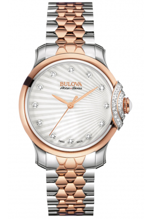 BELLECOMBE SILVER DIAL ANALOGUE DISPLAY AND TWO TONE STAINLESS STEEL PLATED BRACELET , 34MM 65R164