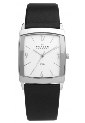 Skagen Men's Black Leather Band Stainless Steel Watch