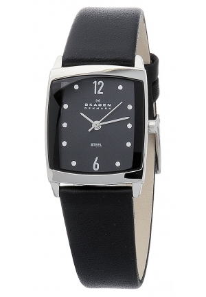 Skagen Women's  Black Dial Swarovski Elements Black Leather Band Watch