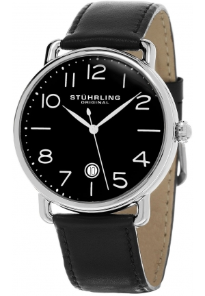 Stuhrling Original Men's Symphony Black Dial Date Leather Dress Watch