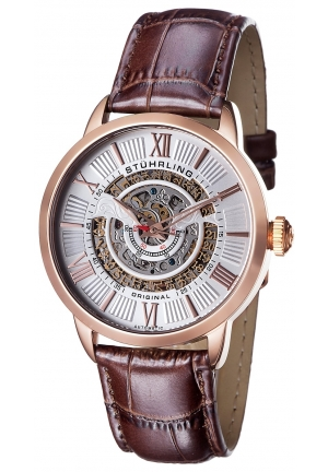 Stuhrling Original Men's Delphi Analog Display Automatic Self Wind Brown Watch