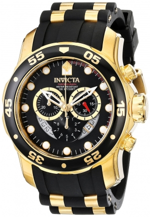 Invicta Men's Pro Diver Analog Swiss Chronograph Black Polyurethane Watch