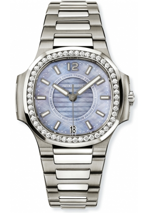 Nautilus Blue Satin Finished Dial Stainless Steel Ladies Watch 33.6mm