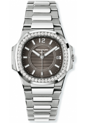 Nautilus Grey Dial 18kt White Gold Ladies Watch 32mm
