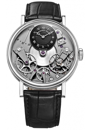 TRADITION BLACK SKELETON DIAL 18KT WHITE GOLD BLACK LEATHER MENS WATCH 7027BBG99V6, 37MM