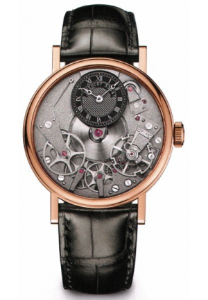 TRADITION BLACK SKELETON DIAL 18KT ROSE GOLD BLACK LEATHER MANUAL WIND MEN WATCH 7027BRG99V6, 37MM