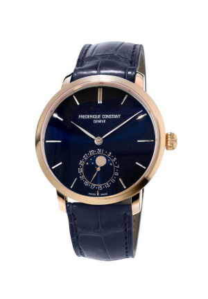 Frederique Constant Slimline Moonphase Automatic Navy Blue Dial Blue Leather Men's