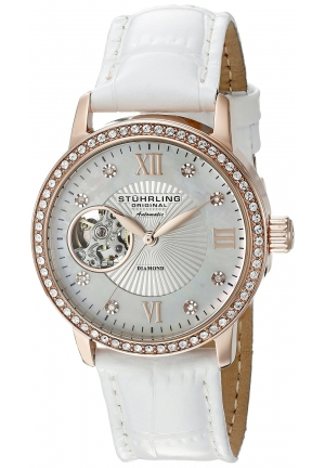 Stuhrling Original Women's 'Vogue' Automatic Stainless Steel and White Leather Dress Watch