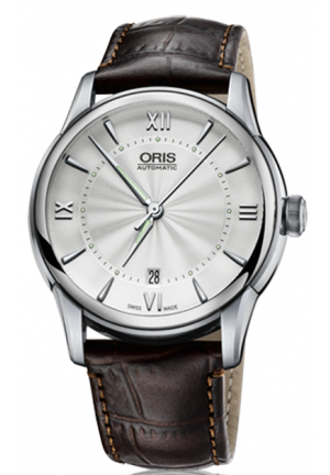 Oris Artelier Automatic Silver Dial Brown Leather Men's Watch 733-7670-4071LS