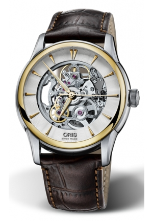 Oris Artelier Automatic Skeleton Dial Brown Leather Mens Watch 734-7670-4351LS