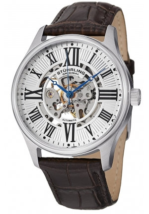 Stuhrling Men's Automatic Skeleton Watch with Transparent Dial Stainless Steel Case On Brown Leather Strap