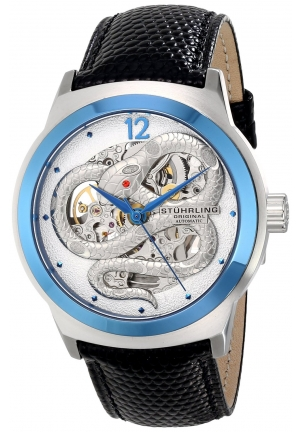 Stuhrling Original Men's Leisure Serpent Automatic Self-Wind Watch With Black Leather Band