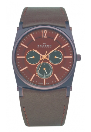 Skagen Men's Brown Dial With Rose Gold Markings Watch