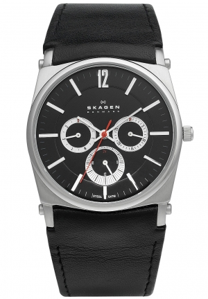 Skagen Mens Leather Wrist Watches