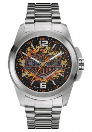 Harley-Davidson Men's Bulova Watch, Frames Bar & Shield, Stainless Steel