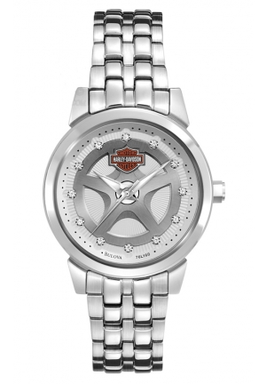 BULOVA Harley-Davidson® Women's Bracelet Watch. Swarovski® Crystal Hour Marks 30mm