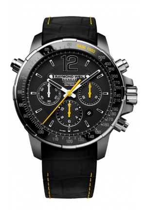 NABUCCO AUTOMATIC CHRONOGRAPH BLACK DIAL BLACK RUBBER MENS WATCH 46MM