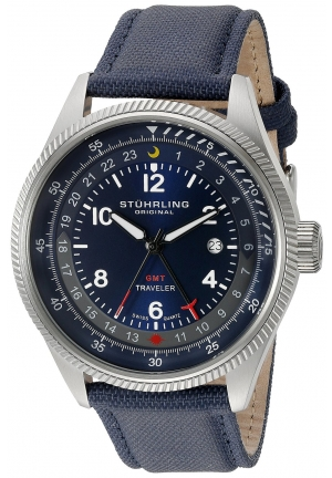 Stuhrling Original Men's Aviator Stainless Steel Watch With Blue Leather Band