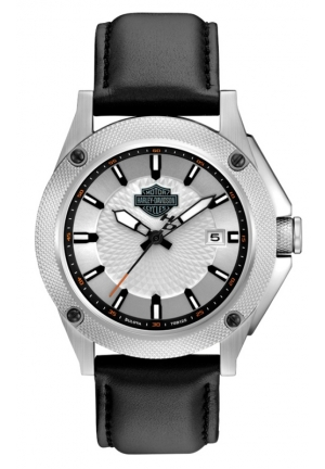 BULOVA Harley-Davidson Mens Silver Patterned Dial Watch 42mm