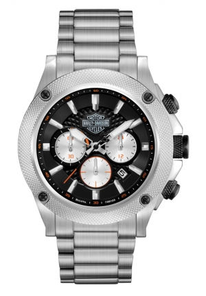 BULOVA Harley-Davidson Men's Bulova Stainless Steel Bracelet Chronograph Watch 42mm