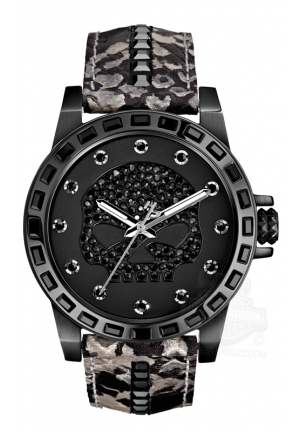 BULOVA Harley-Davidson Women's Bulova Black Crystal Skull Wrist Watch 40mm