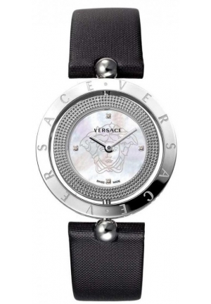 Ladies Versace Watch with Black Leather Strap