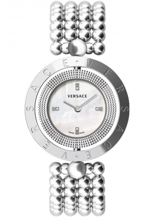 VERSACE EON MOTHER OF PEARL DIAMOND DIAL STAINLESS STEEL LADIES WATCH, 34MM