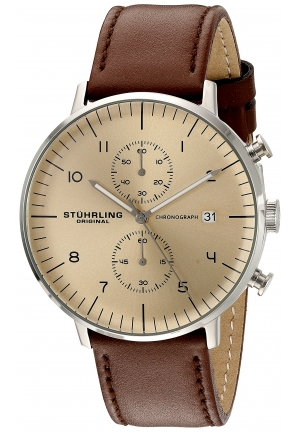 Stuhrling Original Men's 'Monaco' Quartz Chronograph Date Stainless Steel and Leather Dress Watch, , Brown