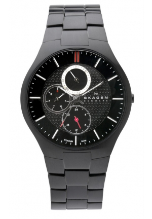 Skagen Mens Watch  with Titanium Bracelet and Black Dial