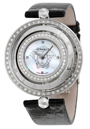 VERSACE Eon Mother of Pearl Dial Black Leather Diamond Ladies Watch