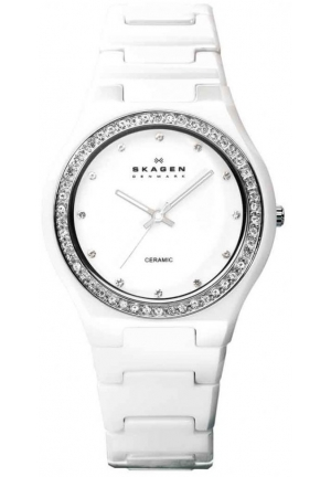 Skagen Women' Ceramic White Ceramic Crystal Watch