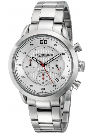 Stuhrling Original Men's Monaco Chronograph Multifunction Stainless Steel Date Watch