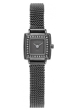 Skagen Grey Dial Swarovski Crystal Bezel Ladies Watch