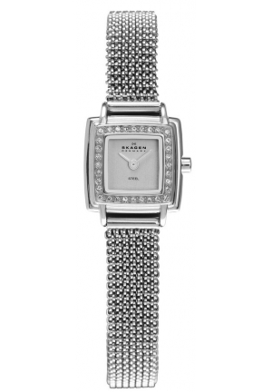 Skagen Silver Dial Swarovski Crystal Bezel Ladies Watch