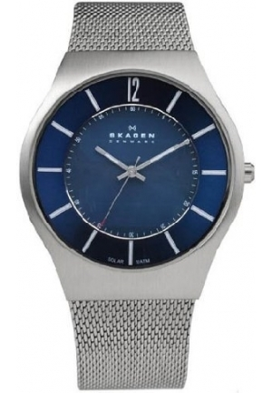 Skagen Blue On Silver Mesh Men's Steel Watch
