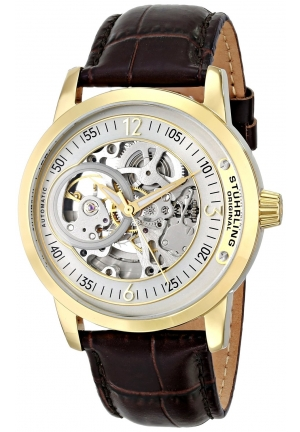 Stuhrling Original Men's Classic Delphi Saros Analog Display Automatic Self Wind Brown Watch