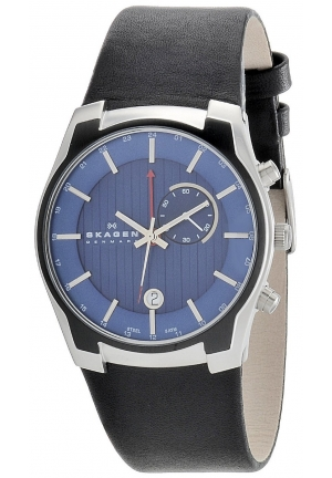 Skagen Men's Steel Gmt Dual-Time Function, Alarm, Blue Dial Watch