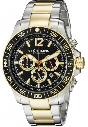 Stuhrling Original Men's Octane Torricelli Quartz Chronograph Diver Two Tone Watch
