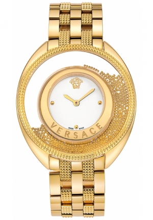 VERSACE Swiss Destiny Spirit Pyramid Stud Gold Ion-Plated 39mm