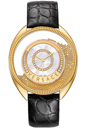 Women's Bezel Mother of Pearl Dial Black Alligator Leather Diamond Watch 39mm