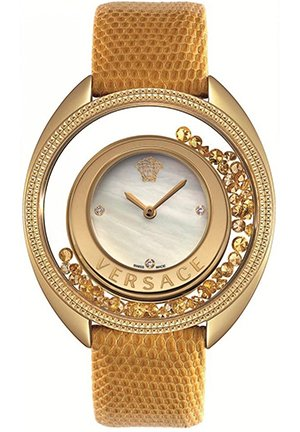 Women's Floating Micro Spheres Yellow Leather Watch 39mm