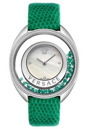VERSACE Destiny Precious Genuine Lizard Mother-Of-Pearl Diamond 40mm