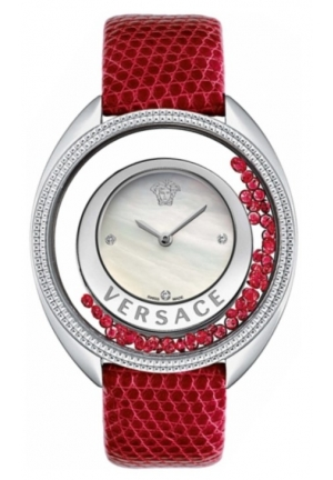 Versace Women's Destiny Precious Mother-of-Pearl Stainless Steel Red Watch