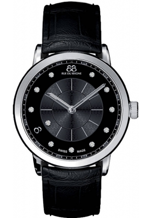 88 Rue du Rhone Double 8 Origin Black Dial Black Leather Ladies Watch 87WA120002