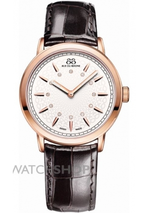 88 Rue du Rhone Double 8 Origin Rose Dial Brown Leather Ladies Watch 87WA120015
